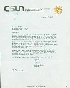 Signed letter from James W. Cleary, President of Callifornia State University, Northridge, to...