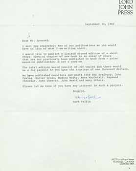 Signed letter from Herb Yellin to novelist Elmore Leonard. Lord John Press/Herb Yellin