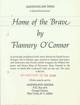 Announcement for Home of the Brave by Flannery O'Connor, a previously uncollected short story....