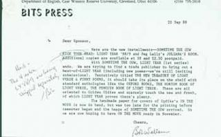 Letter from Robert Wallace of Bits Press, sent to Herb Yellin of the Lord John Press. Bits...