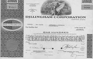 Certificate of 100 Fully-paid and Non-assessable Shares of Common Stock. Dillingham Corporation