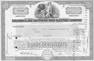 Certificate of 80 Fully-paid and Non-assessable Common Shares Without Par Value. Columbus,...