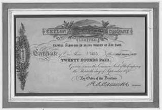 Certificate of Shares of The Common Capital Stock. Ceylon Company Ltd