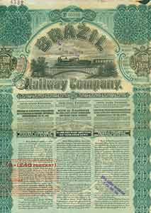Certificate of share, 4,9000,000 Ptas. Brazil Railway Company