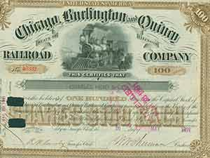 Certificate of share. Burlington Chicago, Quincy Railroad Company
