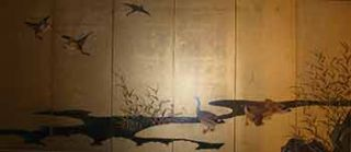 Little Screen - six sheets - Wild geese. 18th Century Japanese Painter Kano Sanraku