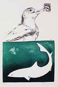 Seagull and Shark. Leonard Baskin.