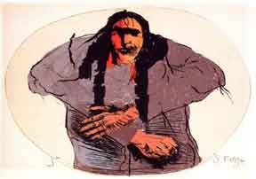 Sioux in Green Oval. Leonard Baskin.