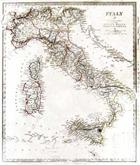 Italy Map. Dalbe and Stucchi Orgiazzi
