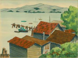 Boathouses with Red Roofs. R. Chandler
