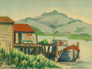 Boathouse and Boat. R. Chandler