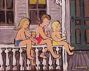 Three Children on a Fence. Helen Ludwig