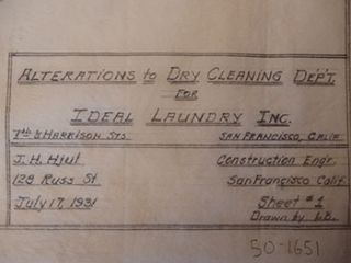 Alteration Plans for Ideal Laundry Inc. 799 7th St., San Francisco. James H. Hjul