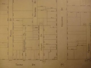 Map from Mission St. to Brannan St., between 2nd St. and 3rd St., San Francisco. James H. Hjul.