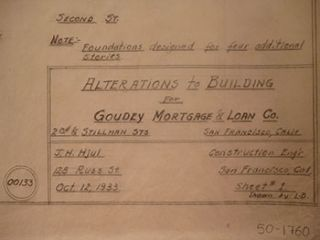 Alterations for a Building for Goudey Mortgage & Loan Co. on the Corner of 2nd St. and Stillman...