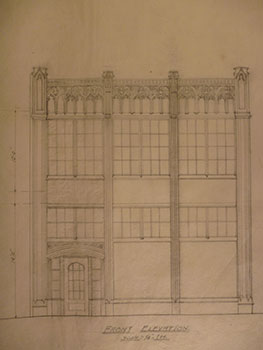 Building Plans and Elevation for a Building for James H. Hjul on Front St., San Francisco. James...