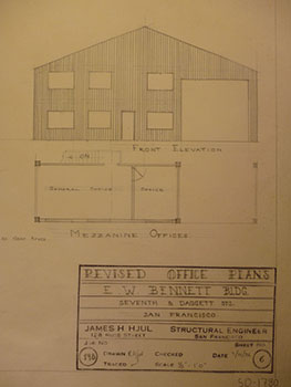 Building Plans and Elevation for a Building for E. W. Bennett on 7th St. and Daggett St., San...