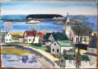 Maine Village with Bay. Jason Schoener