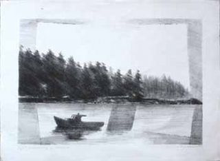 Morning in Maine. [Fishing Boat with trees in backrgound]. Jason Schoener