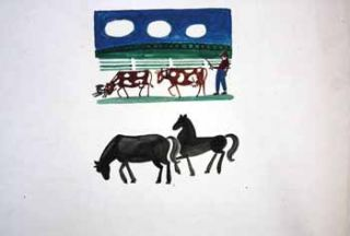 Farmer with Diary Cows and Horses Below. Jason Schoener