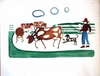 Farmer with Diary Cows and Dog Below. Jason Schoener