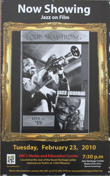 Unique poster for the film Louis Armstrong Jazz Journal Live in '59. Feb. 23, 2010. Louis Armstrong