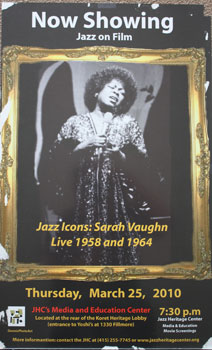 Unique poster for the film Jazz Icons: Sara Vaughn Live 1958 and 1964. March 25, 2010. Sarah Vaughn