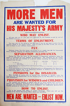 More men are wanted for his majesty's army [...] Men are wanted - enlist now / H.W. & V. Ld....