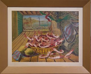 Basket of Crayfish on a Table Overlooking the Bay. Vicente Manzorro