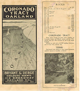Subdivision Map of Coronado Tract, Oakland,Alameda Co., Cal. Bryant and Derge