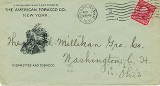 Stamped Envelope with printed image of Indian Chief. American Tobacco Co