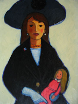 Girl in Blue with Large Hat and Pink Doll. John Payne