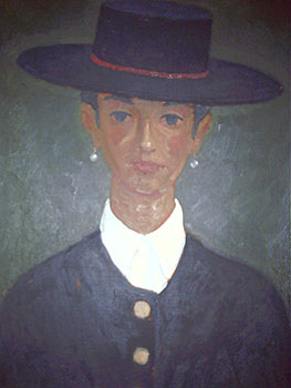 Spanish Lady wearing a wide brimmed Hat. John Payne