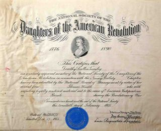 Dorothy Scallin Turnley. Memberhip certificate for the Daughters of the American Revolution....