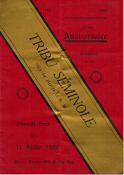 Menu for the Tribu Séminole's 25th anniversary 1883-1908 at Bergez-Frank's Old Poodle Dog...