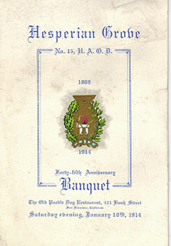 Menu for the Hesperian Grove's 45th Anniversary 1869-1914, at Bergez-Frank's Old Poodle Dog...