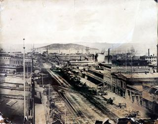 View] down Market Street in 1865. (Photograph). T. E. Hecht