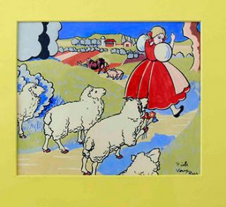 "Bo-Peep on her way back to the Farm followed by 4 Sheep. Oskar Hauenstein, ""Rick Van Rey"", born 1883"