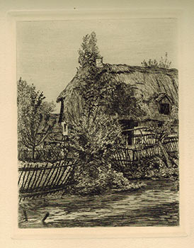 Strohhütte in Oberbayern. (Thatched Roof Huts in Barvaria). Carl Theodor Meyer-Basel