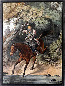 Junker of the Life-Guards Caucasian-Mountain squadron - Cavalaryman crossing a Stream. Lev...