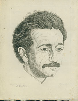 Portrait of Albert Einstein. Circa 1917. (Signed by Einstein and the artist). Albert Einstein,...