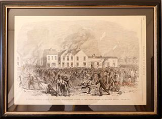 A sketch Showing a Riot at Detroit, Michigan. - An Attack on the Negro Houses in Beaubien Street....