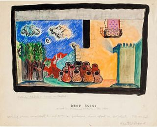 Stage Sets for an Ali Baba Pantomine. Three original gouaches. Garth Williams, 1912 -1996