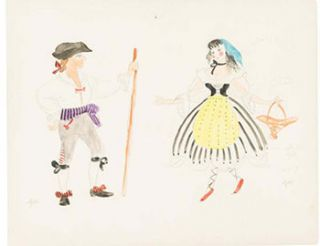 "Costume Designs for a production of Mozart's ""Bastien and Bastienne."" Five original gouaches...."
