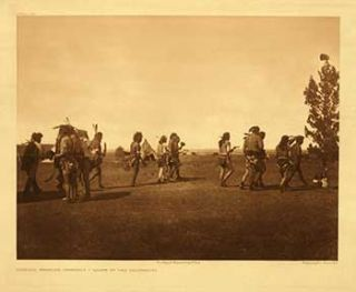 Arikara medicine ceremony - Dance of the fraternity. Portfolio plate no. 158. (Large format supplementary plate for The North American Indian). Edward Sheriff Curtis.