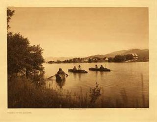 Village of the Kalispel. Portfolio plate no. 239. (Large format supplementary plate for The North American Indian). Edward Sheriff Curtis.