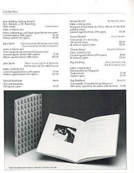 The Lord John Press Catalogue for 1987-1988. John Ashbery, Eudora Welty, John Updike, Garry...