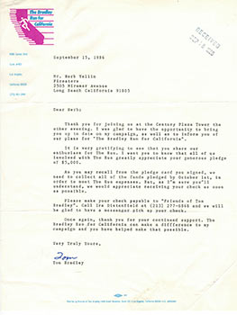 Letter from Mayor Tom Bradley to publisher Herb Yellin regarding his 1986 gubernatorial ...