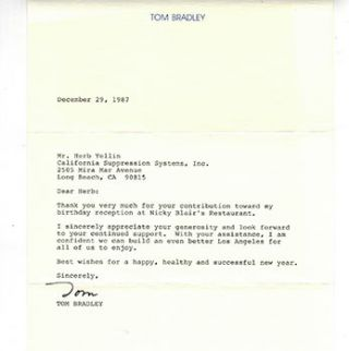 Letter from Mayor Tom Bradley to publisher Herb Yellin regarding his 1987 birthday reception. Tom...