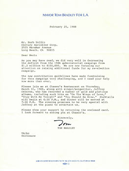 Letter from Mayor Tom Bradley to publisher Herb Yellin regarding his 1988 mayorial Campaign. Tom...